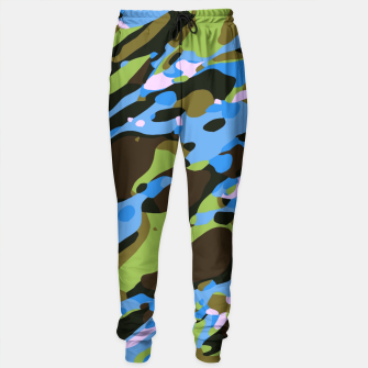 Miniatur camouflage graffiti painting texture abstract in green blue and brown Sweatpants, Live Heroes
