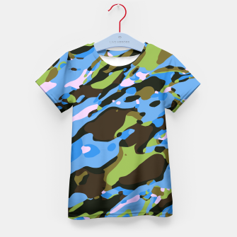 Thumbnail image of camouflage graffiti painting texture abstract in green blue and brown Kid's T-shirt, Live Heroes