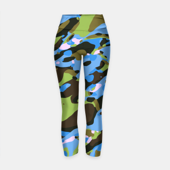 Thumbnail image of camouflage graffiti painting texture abstract in green blue and brown Yoga Pants, Live Heroes