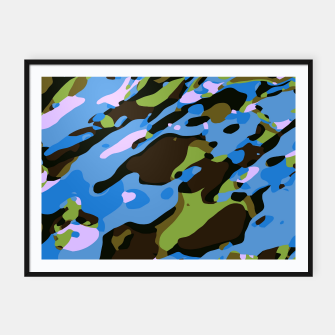 Thumbnail image of camouflage graffiti painting texture abstract in green blue and brown Framed poster, Live Heroes