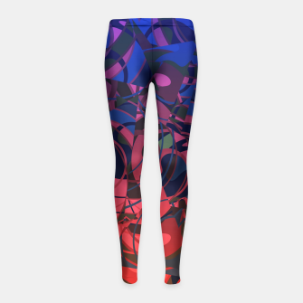 Thumbnail image of Hot Summer Nights Abstract - Reds and Blues Girl's Leggings, Live Heroes
