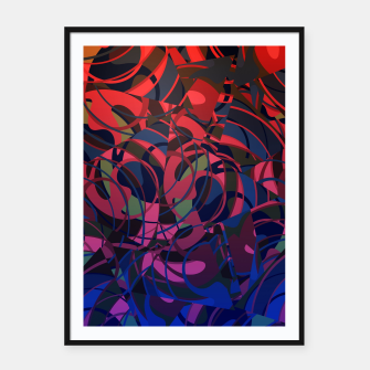 Thumbnail image of Hot Summer Nights Abstract - Reds and Blues Framed poster, Live Heroes