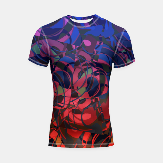 Thumbnail image of Hot Summer Nights Abstract - Reds and Blues Shortsleeve Rashguard, Live Heroes