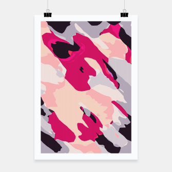 Miniatur camouflage graffiti painting texture abstract in pink and blue Poster, Live Heroes