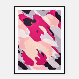 Thumbnail image of camouflage graffiti painting texture abstract in pink and blue Framed poster, Live Heroes
