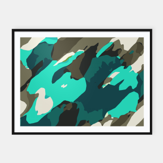 Thumbnail image of camouflage graffiti painting texture abstract in green and blue Framed poster, Live Heroes