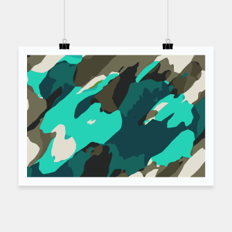 Miniatur camouflage graffiti painting texture abstract in green and blue Poster, Live Heroes