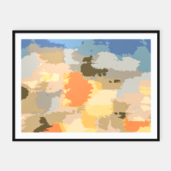 Thumbnail image of camouflage graffiti painting texture abstract in blue yellow brown orange Framed poster, Live Heroes