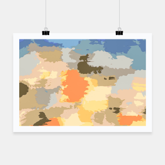 Miniatur camouflage graffiti painting texture abstract in blue yellow brown orange Poster, Live Heroes