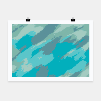 Miniatur camouflage graffiti painting texture abstract in blue Poster, Live Heroes