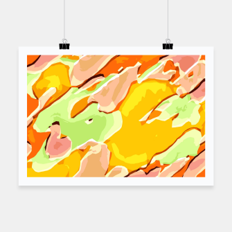 Miniatur camouflage graffiti painting texture abstract orange brown yellow green Poster, Live Heroes