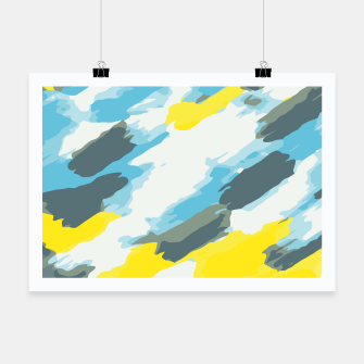 Miniatur camouflage graffiti painting texture abstract in blue and yellow Poster, Live Heroes