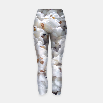 Thumbnail image of White Popped Popcorn pattern Yoga Pants, Live Heroes