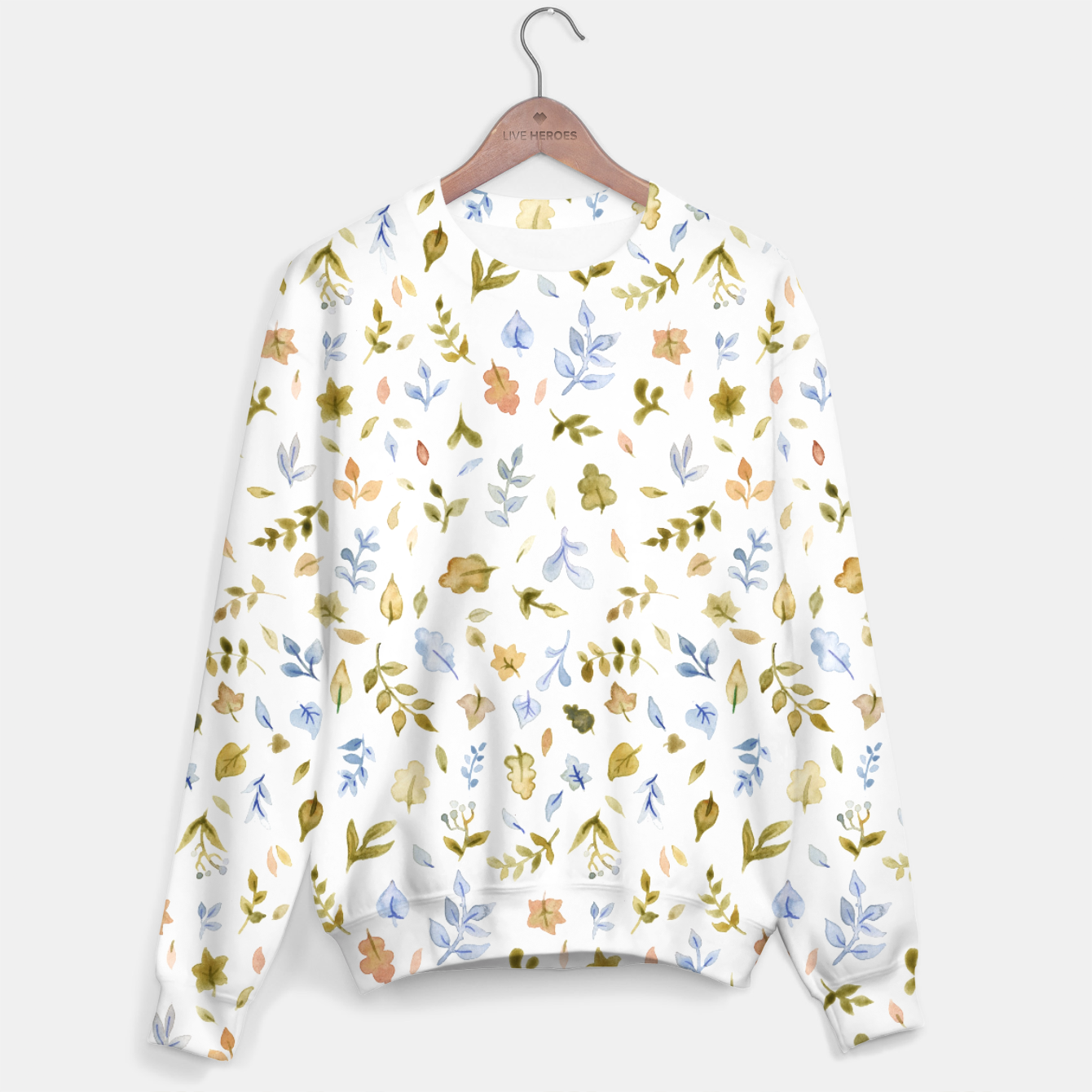 Image of Watercolor leaf Pattern Botanicals Sweater - Live Heroes
