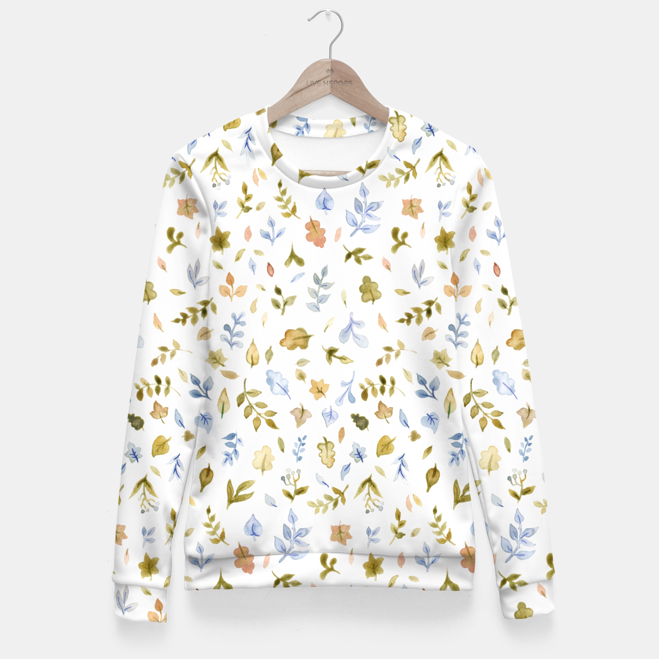 Image of Watercolor leaf Pattern Botanicals Fitted Waist Sweater - Live Heroes