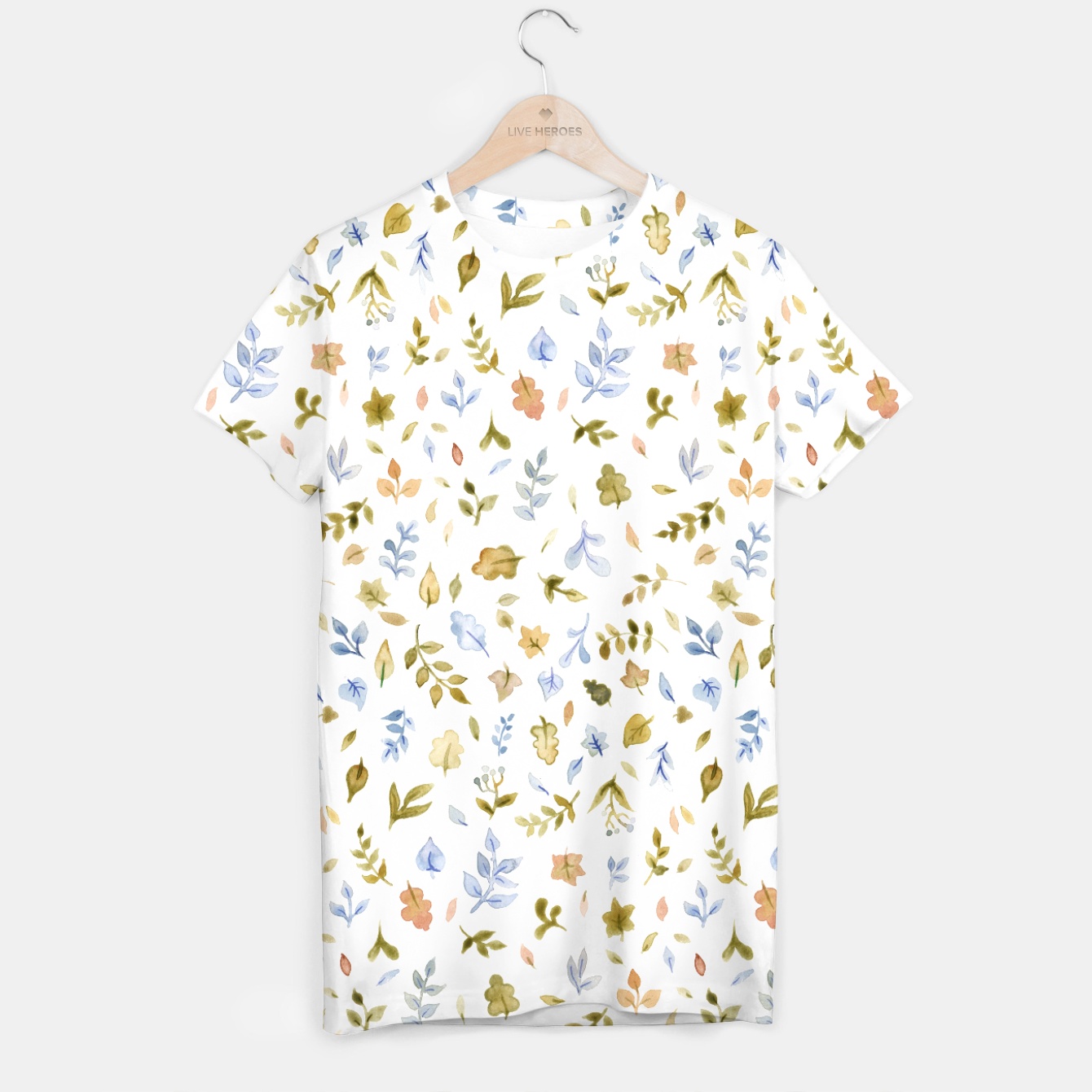 Image of Watercolor leaf Pattern Botanicals T-shirt - Live Heroes