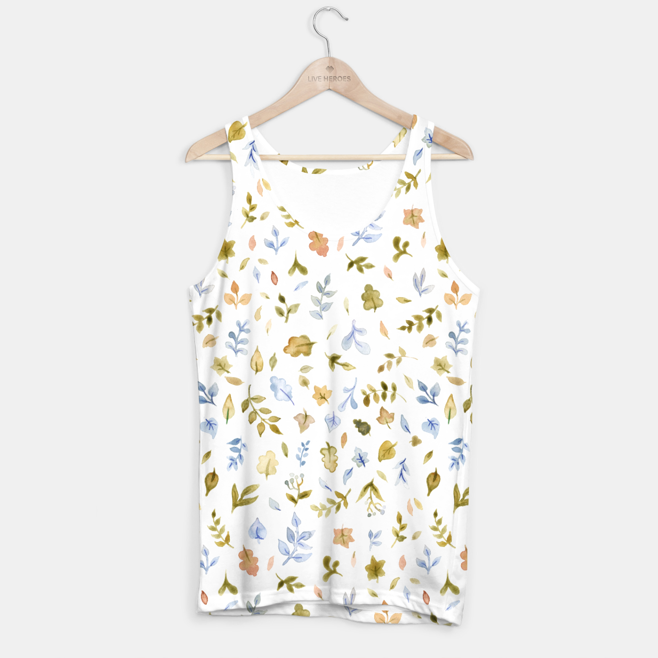 Image of Watercolor leaf Pattern Botanicals Tank Top - Live Heroes