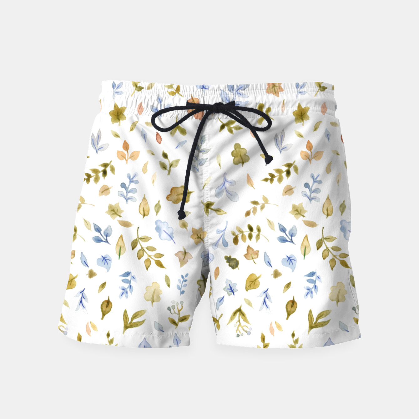 Image of Watercolor leaf Pattern Botanicals Swim Shorts - Live Heroes