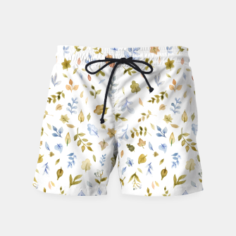 Thumbnail image of Watercolor leaf Pattern Botanicals Swim Shorts, Live Heroes