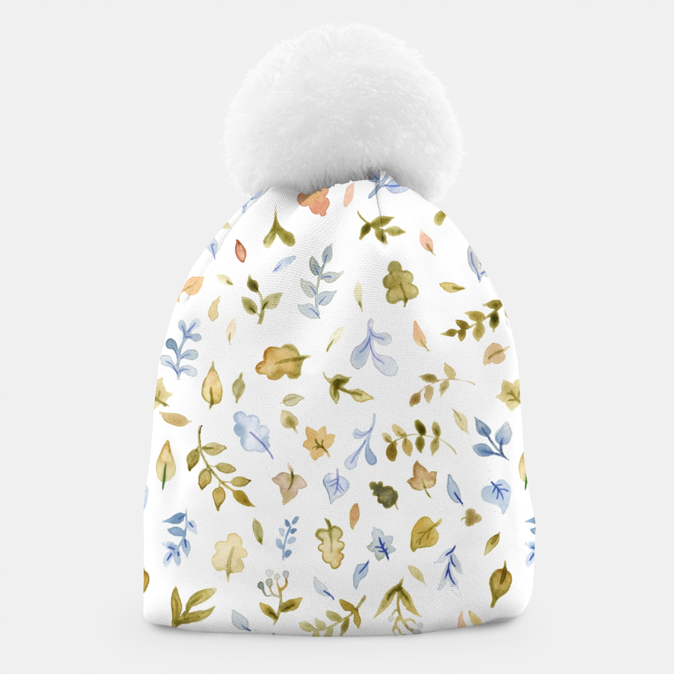 Image of Watercolor leaf Pattern Botanicals Beanie - Live Heroes