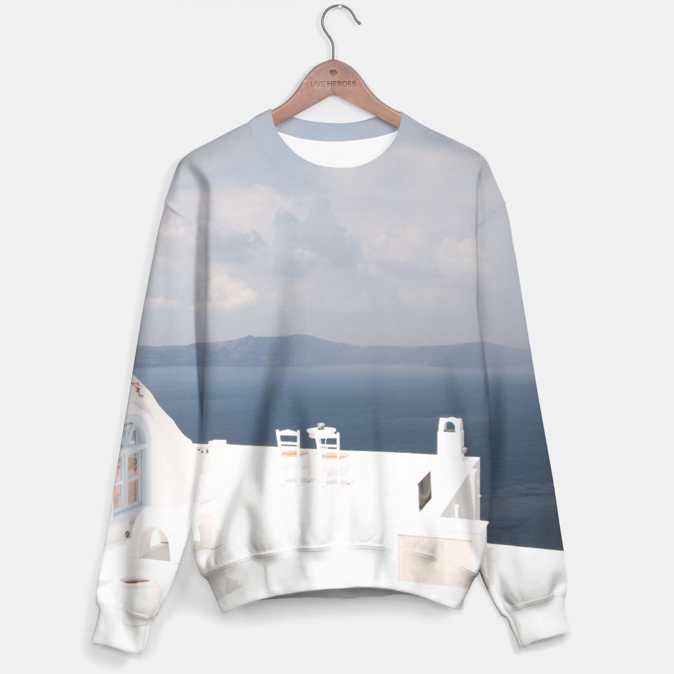 Image of Two chairs on Santorini island Sweater - Live Heroes