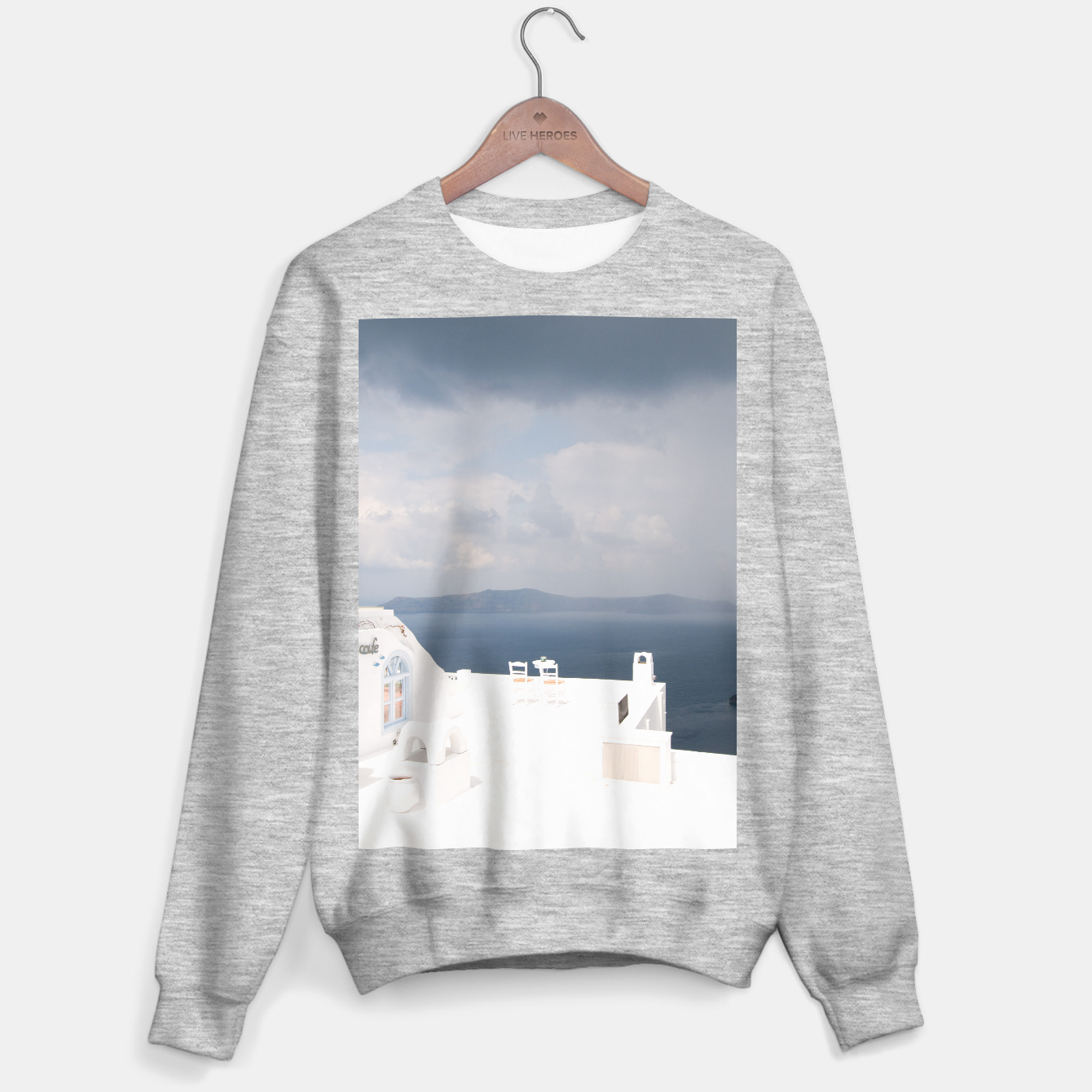 Image of Two chairs on Santorini island Sweater regular - Live Heroes