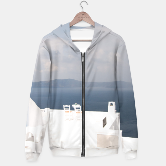 Two chairs on Santorini island Hoodie thumbnail image