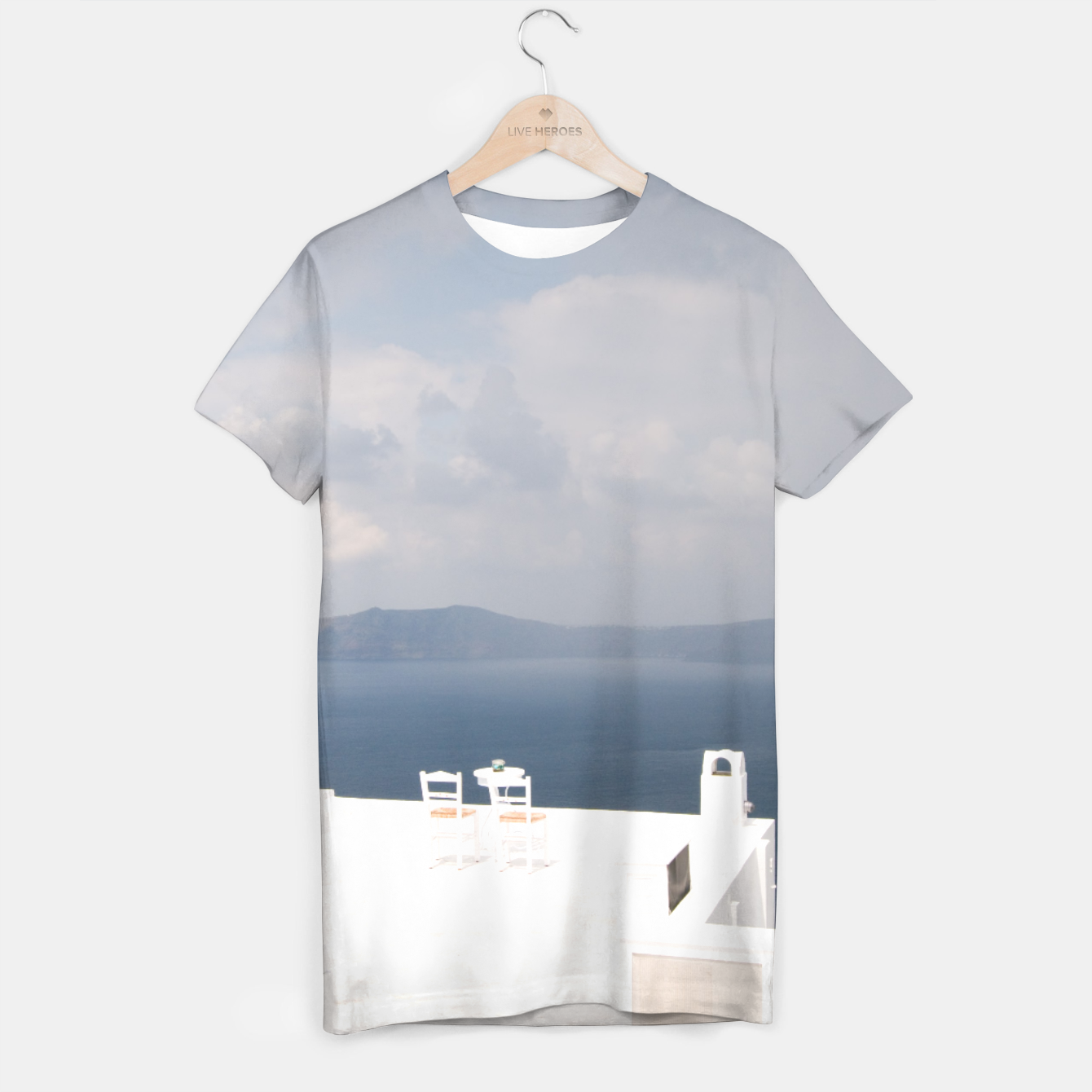 Image of Two chairs on Santorini island T-shirt - Live Heroes