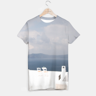 Two chairs on Santorini island T-shirt thumbnail image