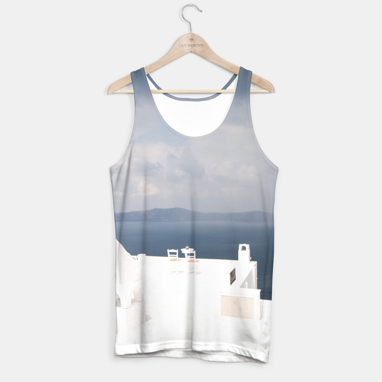 Image of Two chairs on Santorini island Tank Top - Live Heroes