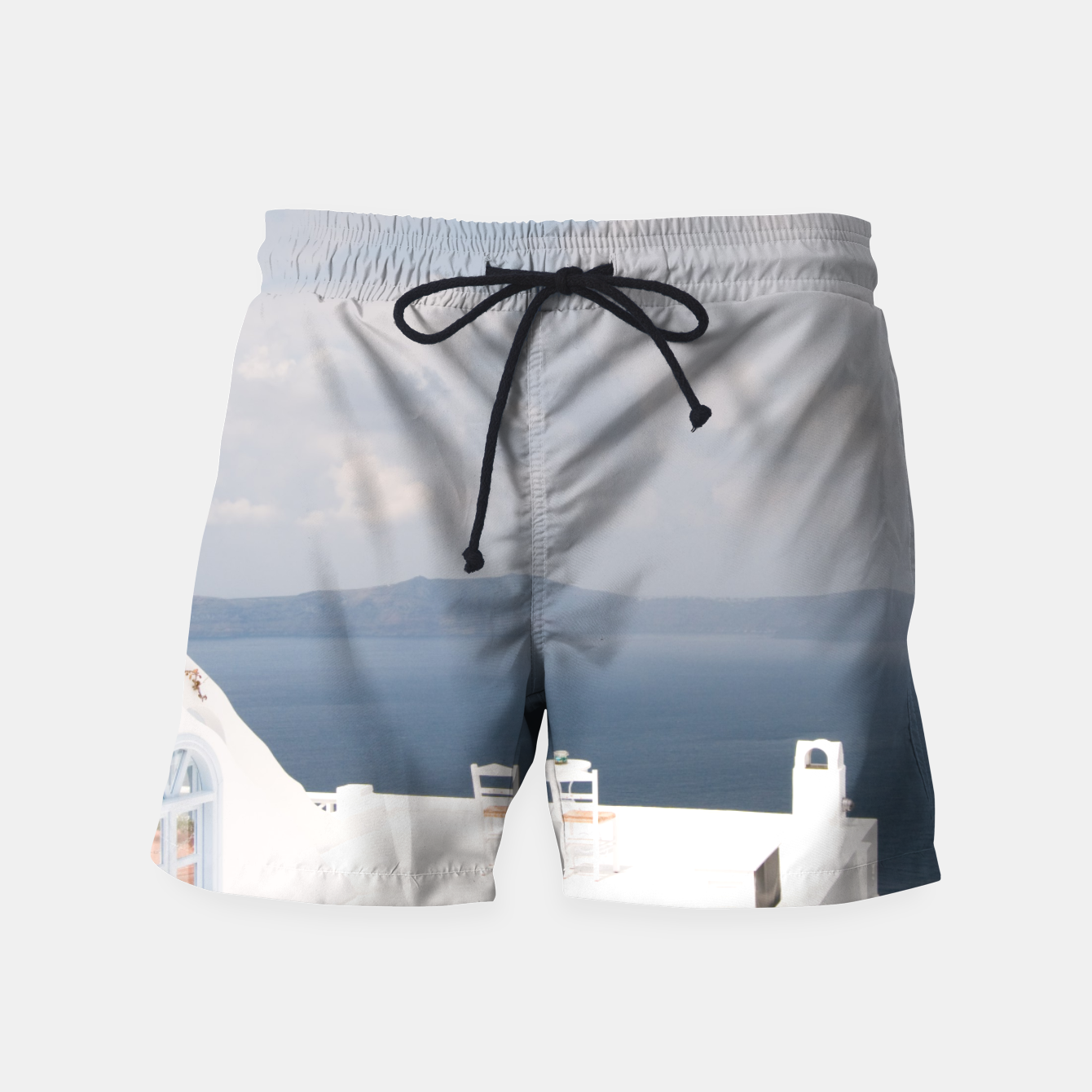 Image of Two chairs on Santorini island Swim Shorts - Live Heroes
