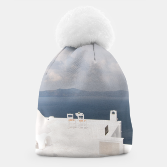 Two chairs on Santorini island Beanie thumbnail image