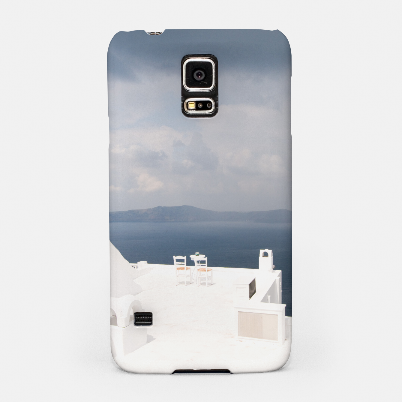 Image of Two chairs on Santorini island Samsung Case - Live Heroes