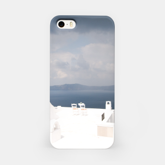 Two chairs on Santorini island iPhone Case thumbnail image