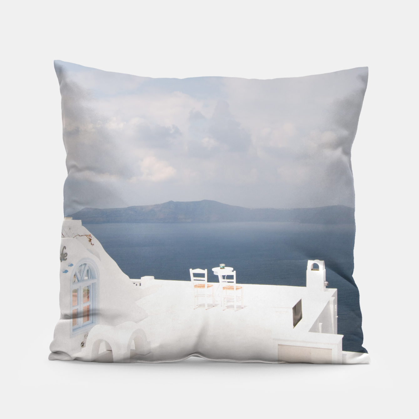 Image of Two chairs on Santorini island Pillow - Live Heroes