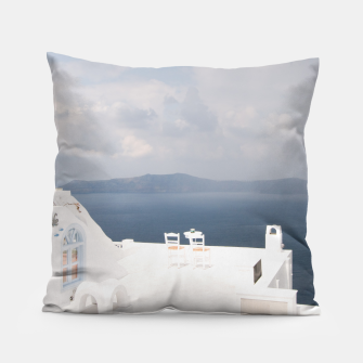 Two chairs on Santorini island Pillow thumbnail image