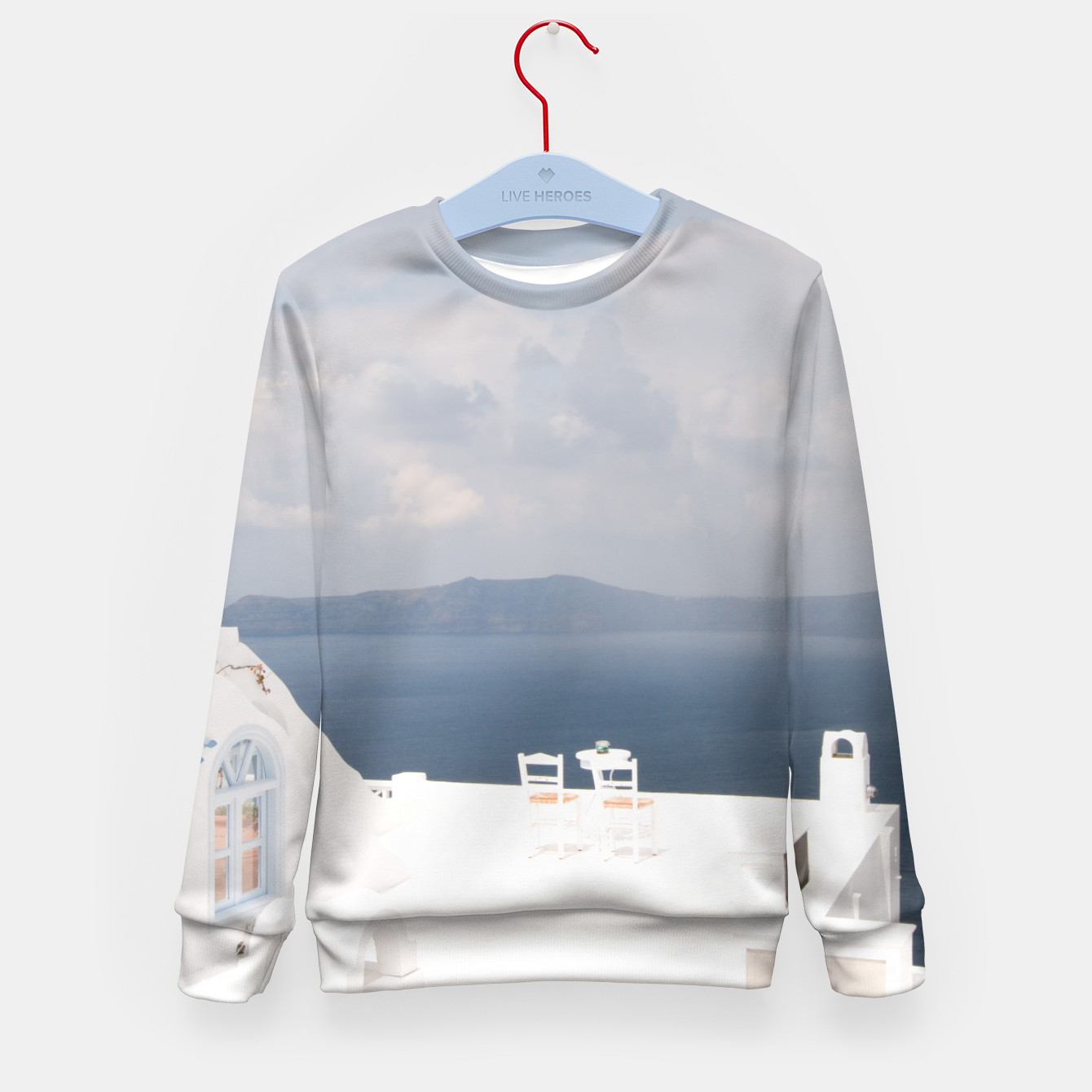 Image of Two chairs on Santorini island Kid's Sweater - Live Heroes