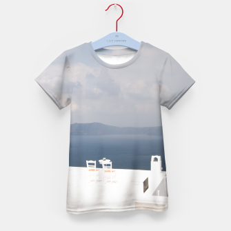 Two chairs on Santorini island Kid's T-shirt thumbnail image