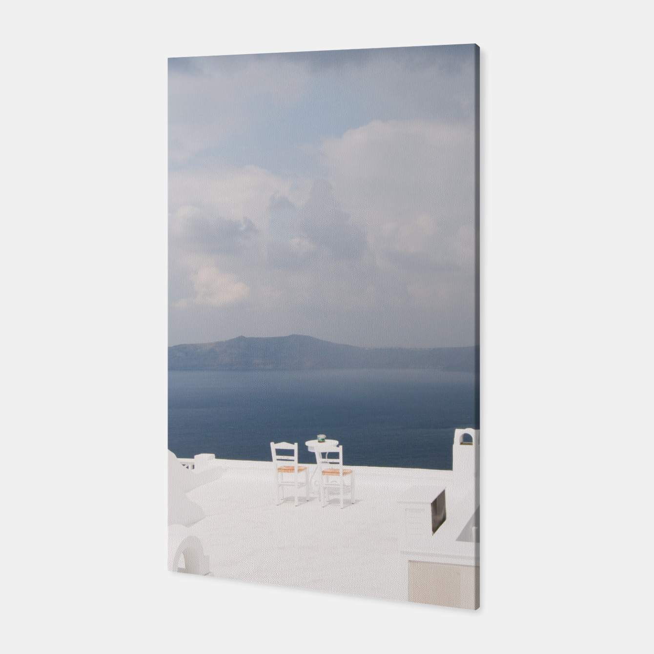 Image of Two chairs on Santorini island Canvas - Live Heroes
