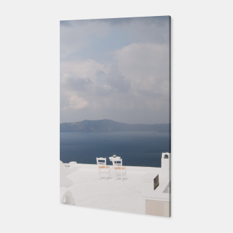 Two chairs on Santorini island Canvas thumbnail image