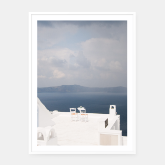Two chairs on Santorini island Framed poster thumbnail image