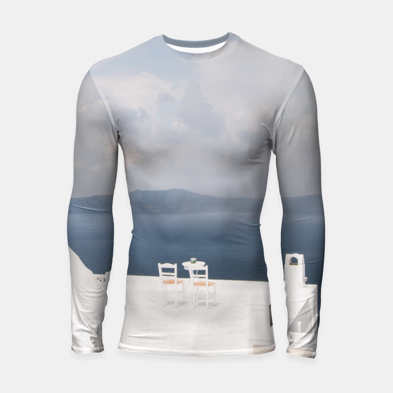 Image of Two chairs on Santorini island Longsleeve Rashguard  - Live Heroes