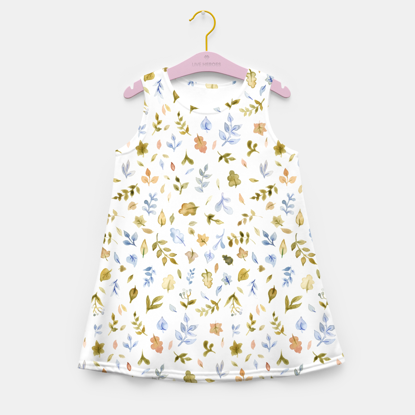 Image of Watercolor leaf Pattern Botanicals Girl's Summer Dress - Live Heroes