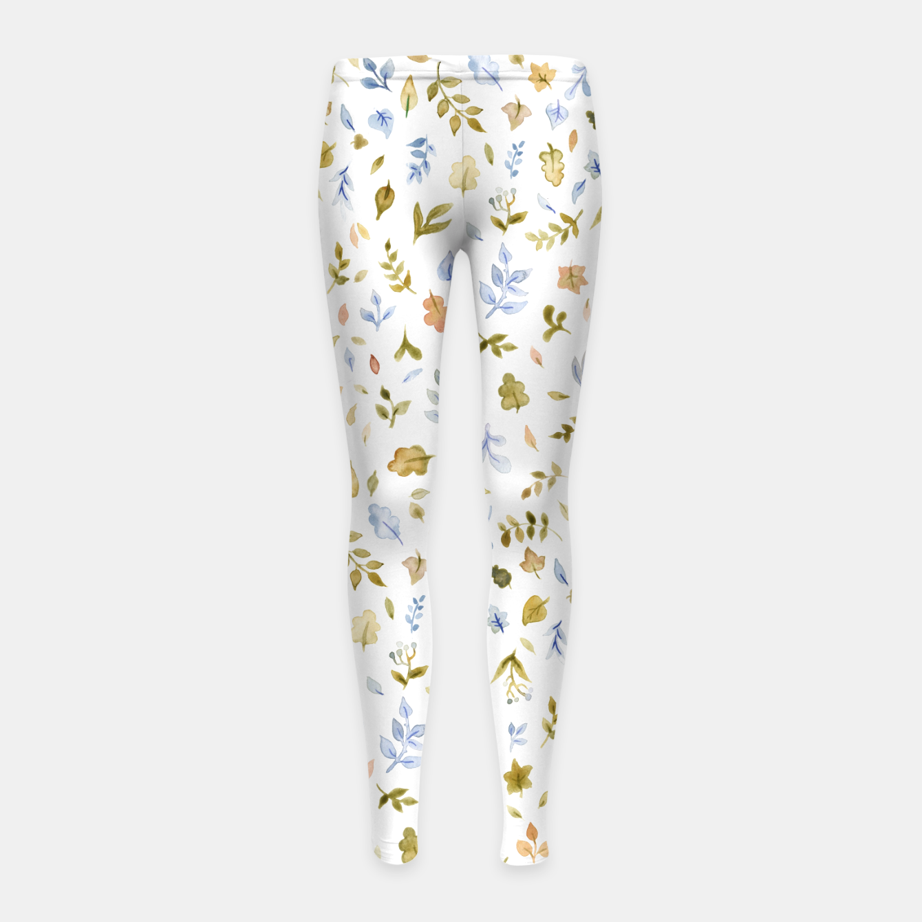 Image of Watercolor leaf Pattern Botanicals Girl's Leggings - Live Heroes