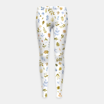 Imagen en miniatura de Watercolor leaf Pattern Botanicals Girl's Leggings, Live Heroes