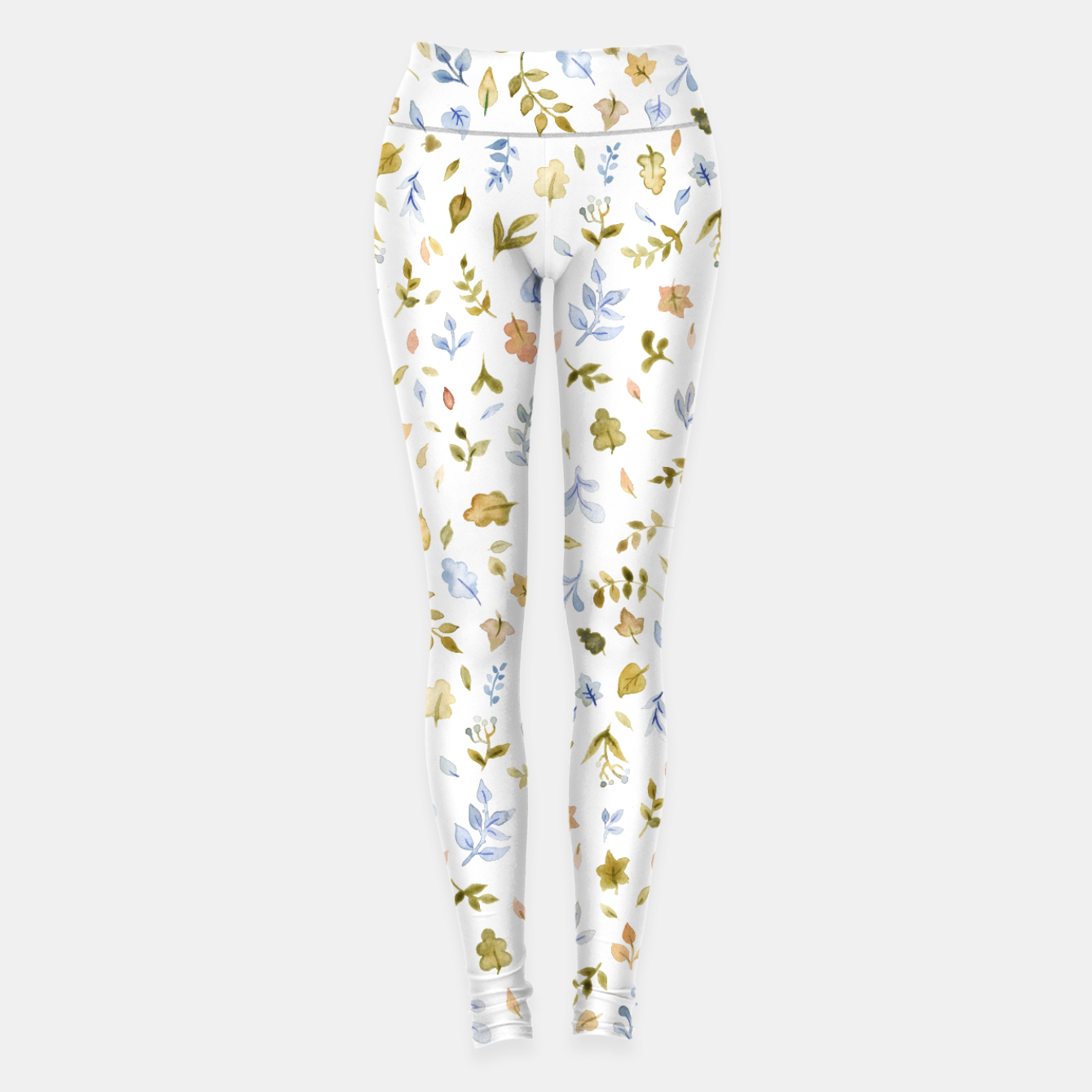 Image of Watercolor leaf Pattern Botanicals Leggings - Live Heroes