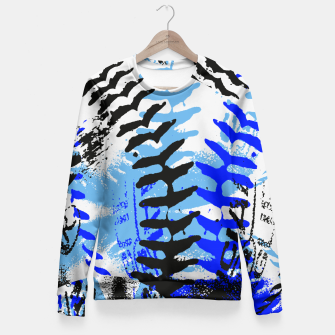 Thumbnail image of Baseball Abstract Blues Fitted Waist Sweater, Live Heroes