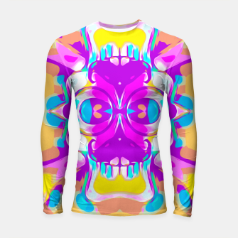 Miniature de image de pink and purple graffiti skull head portrait with glasses and mustache  Longsleeve rashguard , Live Heroes