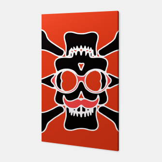 Miniature de image de black skull with glasses and mustache and red background Canvas, Live Heroes