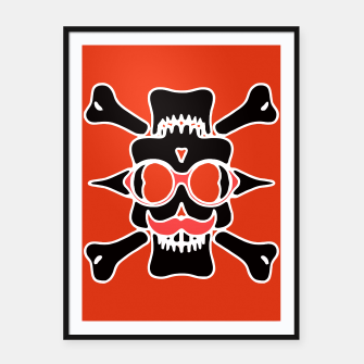 Miniature de image de black skull with glasses and mustache and red background Framed poster, Live Heroes